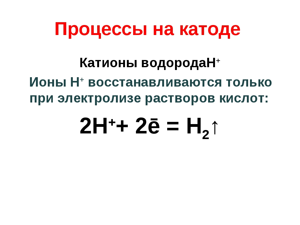 Процессы на катоде Катионы водородаH+ Ионы H+ восстанавливаются только при эл...