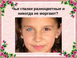 Чьи глазки разноцветные и никогда не моргают?