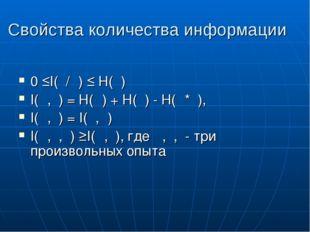 Свойства количества информации 0 ≤I(β/α) ≤ Н(β) I(α,β) = Н(α) + Н(β) - Н(α*β)