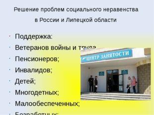 Решение проблем социального неравенства в России и Липецкой области Поддержка