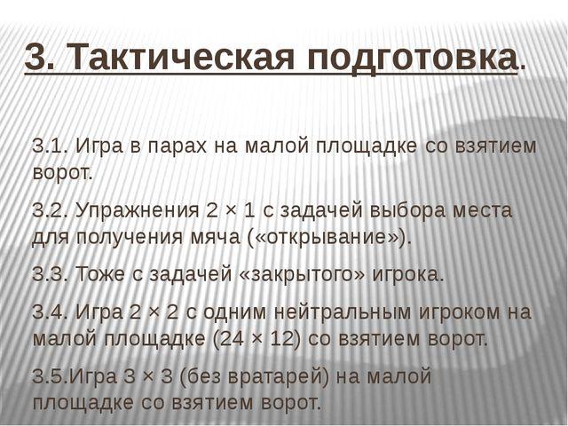 3. Тактическая подготовка. 3.1. Игра в парах на малой площадке со взятием вор...
