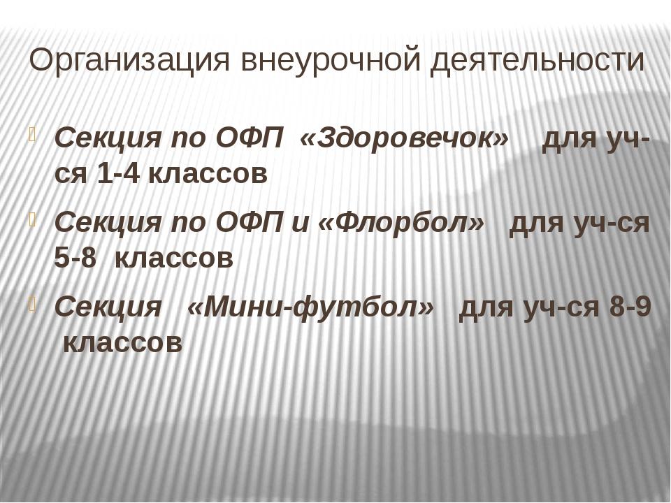 Организация внеурочной деятельности Секция по ОФП «Здоровечок» для уч-ся 1-4...