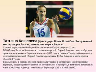 Татьяна Кошелева (Краснодар), 28 лет. Волейбол. Заслуженный мастер спорта Ро