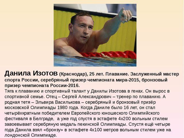 Данила Изотов (Краснодар), 25 лет. Плавание. Заслуженный мастер спорта Росси...