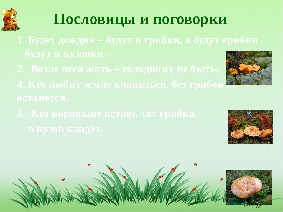 Пословицы и поговорки 1. Будет дождик – будут и грибки, а будут грибки – буд...