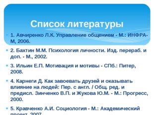 1.Авчиренко Л.К. Управление общением - М.: ИНФРА-М, 2006. 2. Бахтин М.М. Пси
