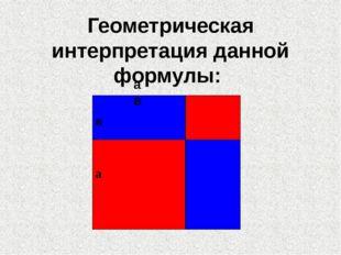 Геометрическая интерпретация данной формулы: а в в а