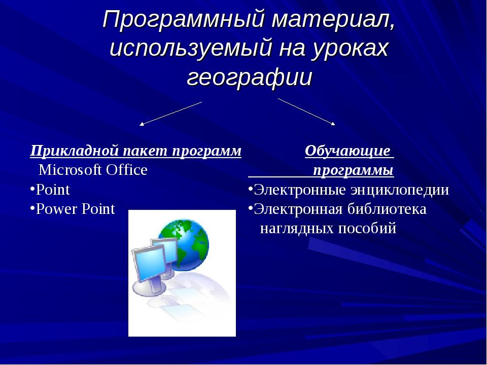 Программный материал, используемый на уроках географии Прикладной пакет прогр...