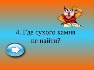 4. Где сухого камня не найти?