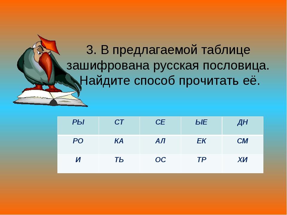 3. В предлагаемой таблице зашифрована русская пословица. Найдите способ прочи...