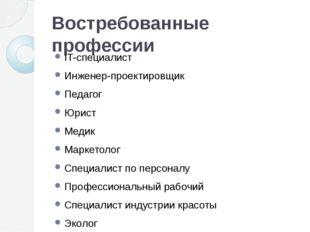 Востребованные профессии IT-специалист Инженер-проектировщик Педагог Юрист Ме