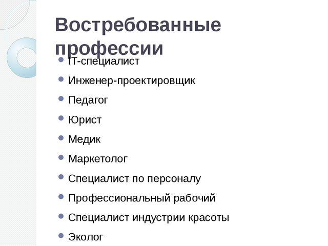 Востребованные профессии IT-специалист Инженер-проектировщик Педагог Юрист Ме...