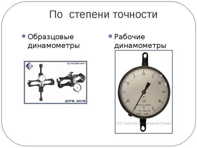 По степени точности Образцовые динамометры Рабочие динамометры