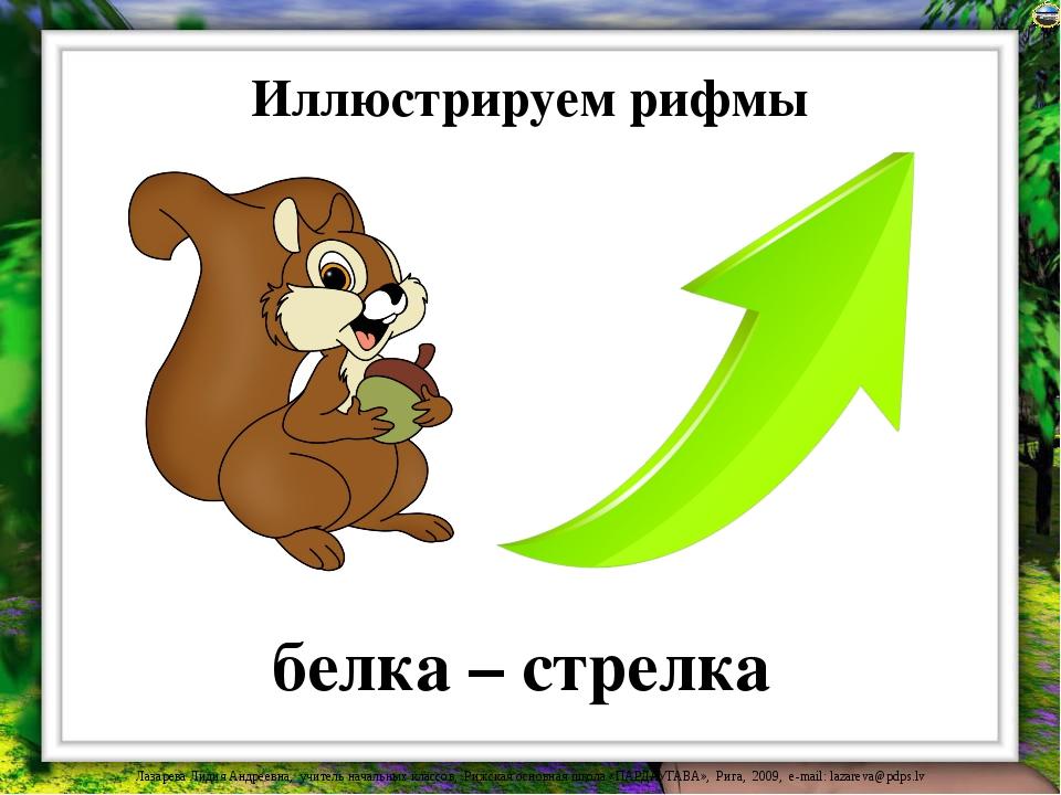 Иллюстрируем рифмы белка – стрелка Лазарева Лидия Андреевна, учитель начальны...