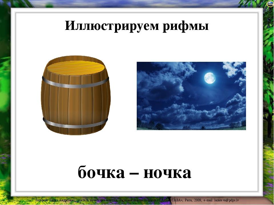 Иллюстрируем рифмы бочка – ночка Лазарева Лидия Андреевна, учитель начальных...