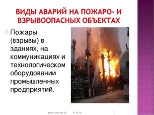 Пожары (взрывы) в зданиях, на коммуникациях и технологическом оборудовании пр