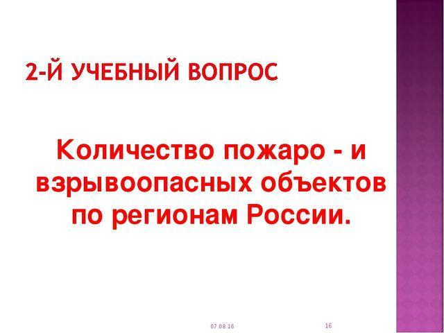 Количество пожаро - и взрывоопасных объектов по регионам России. * * автор К...