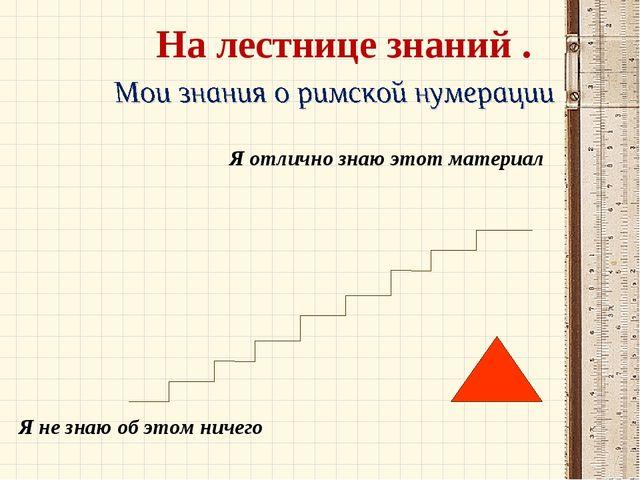 Я отлично знаю этот материал Я не знаю об этом ничего На лестнице знаний .