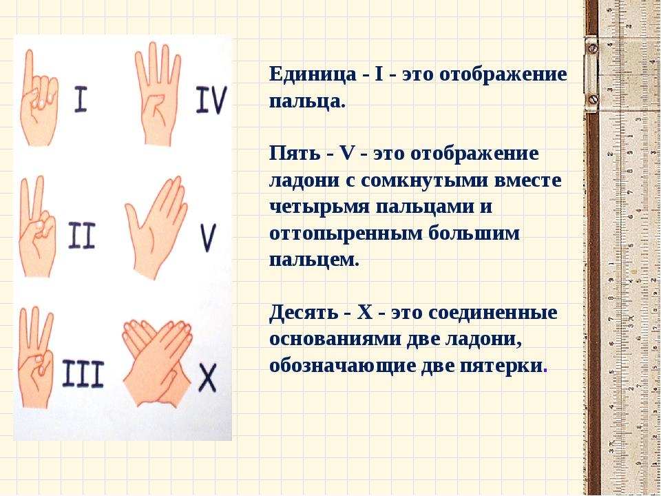 Единица - I - это отображение пальца. Пять - V - это отображение ладони с сом...