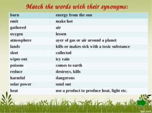 Match the words with their synonyms: burn energy from the sun emit make hot