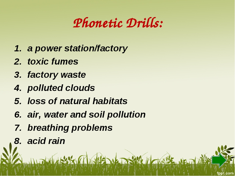 Phonetic Drills: a power station/factory toxic fumes factory waste polluted c...