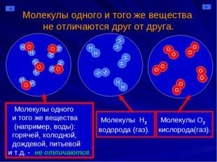 Молекулы одного и того же вещества не отличаются друг от друга. Молекулы одно