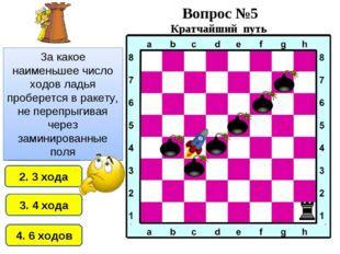 2. 3 хода 1. 2 хода 4. 6 ходов 3. 4 хода За какое наименьшее число ходов ладь