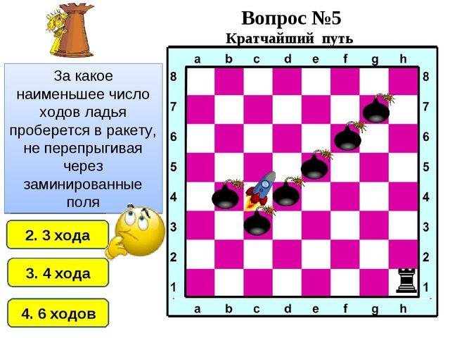 2. 3 хода 1. 2 хода 4. 6 ходов 3. 4 хода За какое наименьшее число ходов ладь...