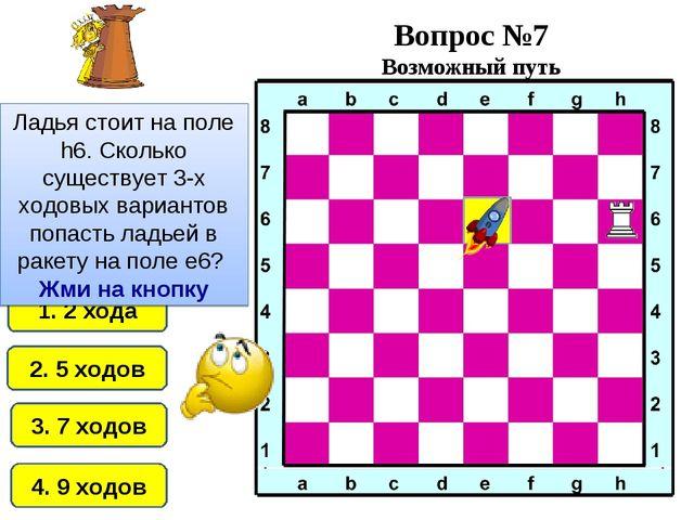 3. 7 ходов 1. 2 хода 4. 9 ходов 2. 5 ходов Ладья стоит на поле h6. Сколько су...