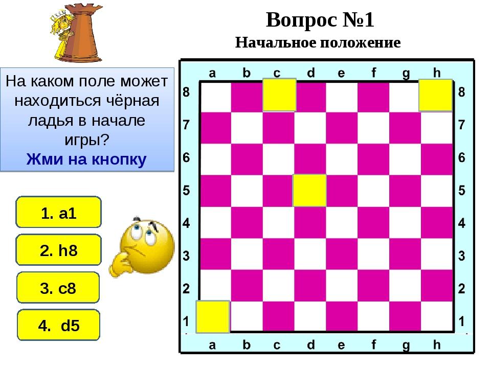 2. h8 1. а1 4. d5 3. c8 Вопрос №1 Начальное положение На каком поле может нах...