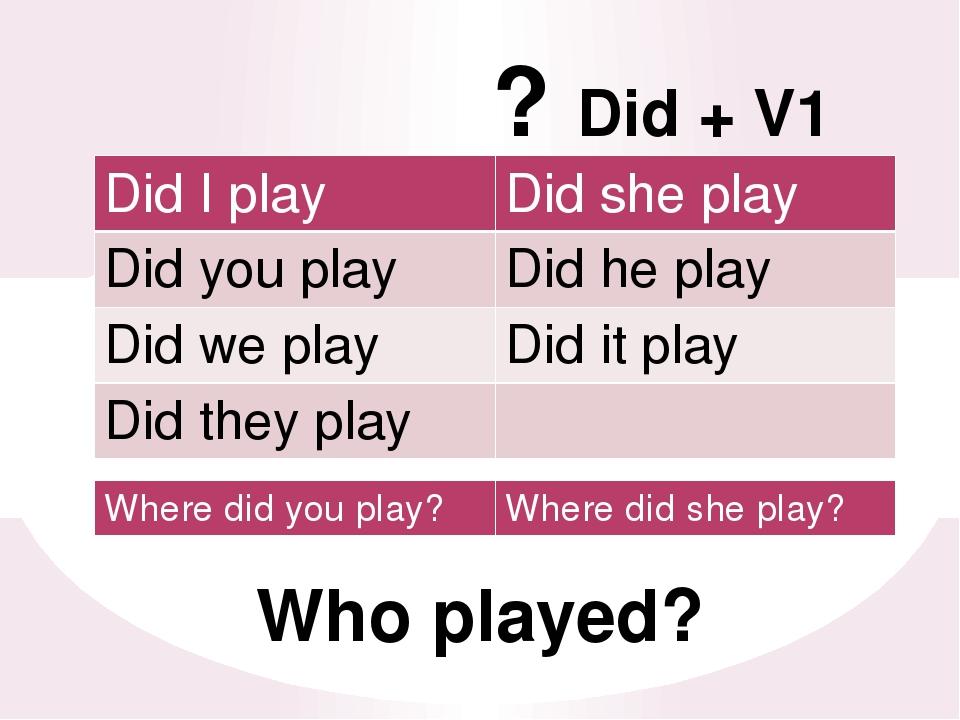 ? Did + V1 Who played? DidI play Didshe play Didyou play Didhe play Didwe pl...
