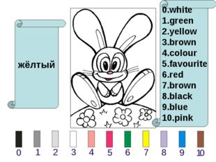 жёлтый 0.white 1.green 2.yellow 3.brown 4.colour 5.favourite 6.red 7.brown 8.