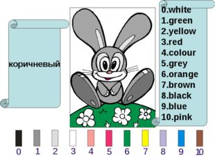 коричневый 0.white 1.green 2.yellow 3.red 4.colour 5.grey 6.orange 7.brown 8.