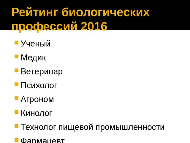 Рейтинг биологических профессий 2016 Ученый Медик Ветеринар Психолог Агроном...