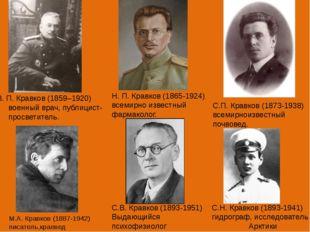 В. П. Кравков (1859–1920) военный врач, публицист-просветитель. Н. П. Кравко