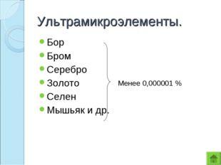 Ультрамикроэлементы. Бор Бром Серебро Золото Селен Мышьяк и др. Менее 0,00000