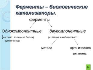 Ферменты – биологические катализаторы. ферменты Однокомпонентные двукомпонент