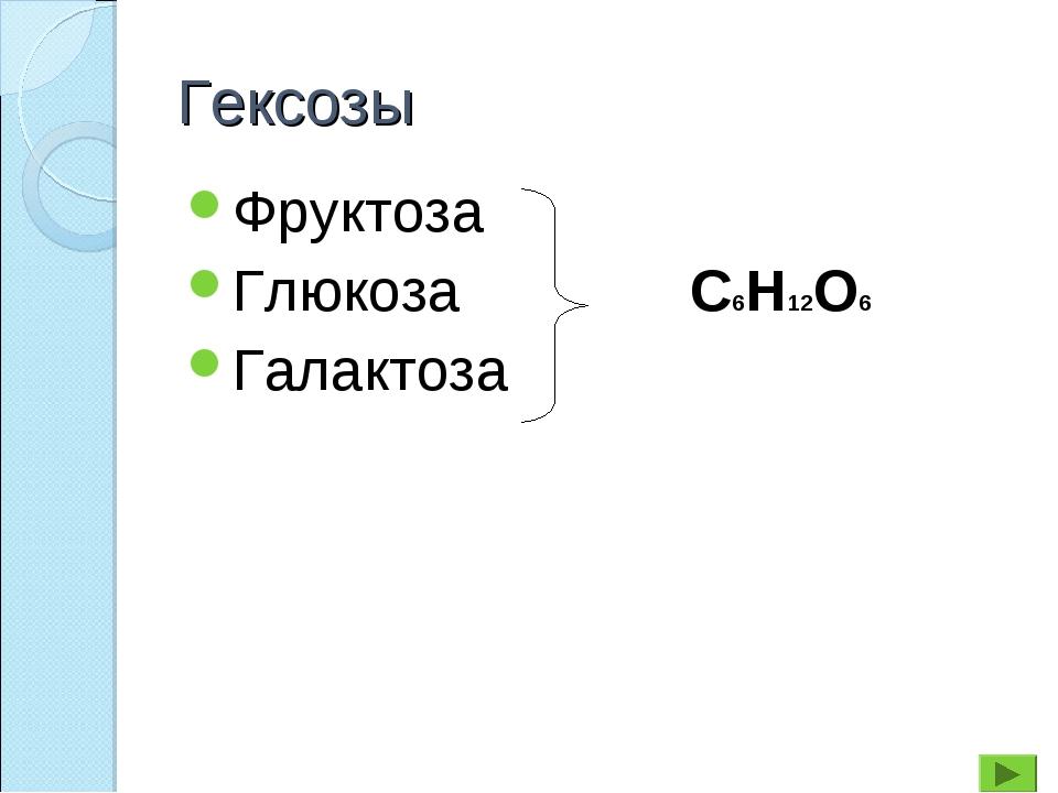 Гексозы Фруктоза Глюкоза Галактоза С6Н12О6