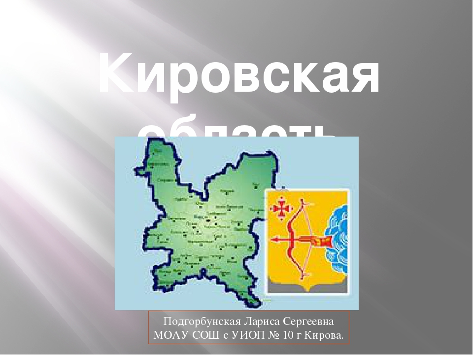 Кировская область Подгорбунская Лариса Сергеевна МОАУ СОШ с УИОП № 10 г Кирова.