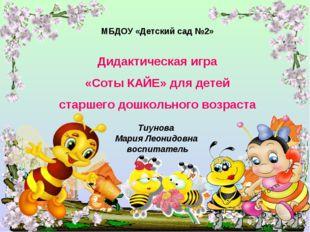 МБДОУ «Детский сад №2» Дидактическая игра «Соты КАЙЕ» для детей старшего дошк