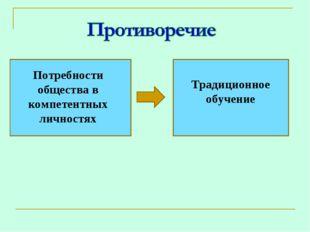 Потребности общества в компетентных личностях Традиционное обучение
