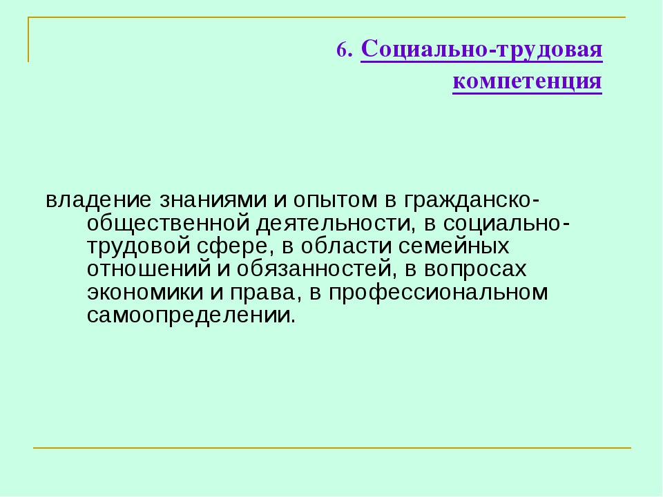 6. Социально-трудовая компетенция владение знаниями и опытом в гражданско-общ...