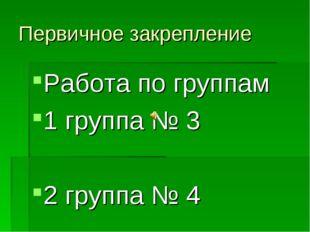 Первичное закрепление Работа по группам 1 группа № 3 2 группа № 4