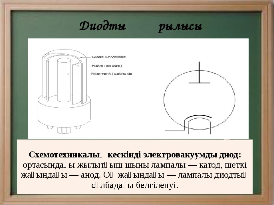 Диодтың құрылысы Схемотехникалық кескінді электровакуумды диод: ортасындағы...