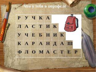 Что у тебя в портфеле Р У Ч К А Л А С Т И К У Ч Е Б Н И К К А Р А Н Д А Ш Ф Л
