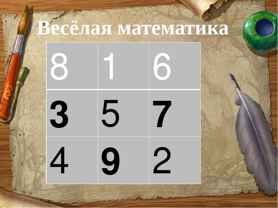 Весёлая математика 8 1 6 3 5 7 4 9 2