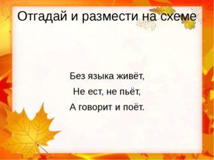 Отгадай и размести на схеме Без языка живёт, Не ест, не пьёт, А говорит и поёт.