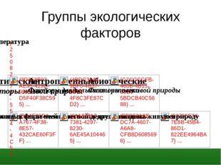 Группы экологических факторов
