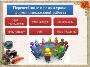 урок-театрализия урок-диспут урок-концерт Урок-праздник «посиделки» Перенесён