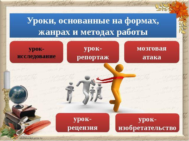 Уроки, основанные на формах, жанрах и методах работы урок-репортаж урок-изобр...
